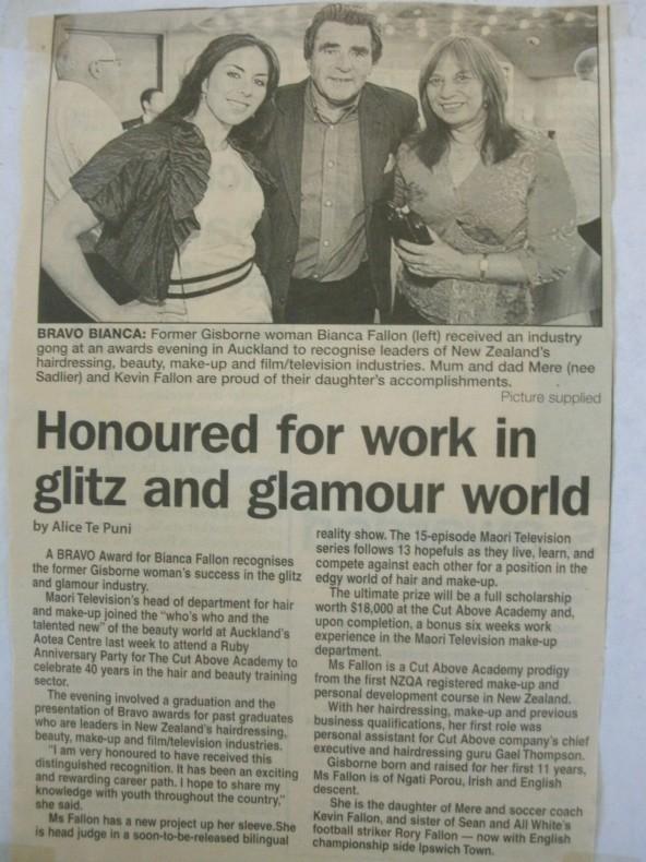 Cut Above Award Gisborne herald Bianca, Mere, Kevin Fallon